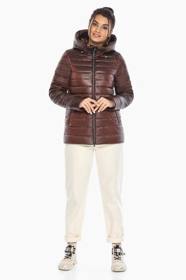 """Осенне-весенняя куртка женская оригинальная каштановая модель 68240 Braggart """"Angel's Fluff"""" фото 2"""