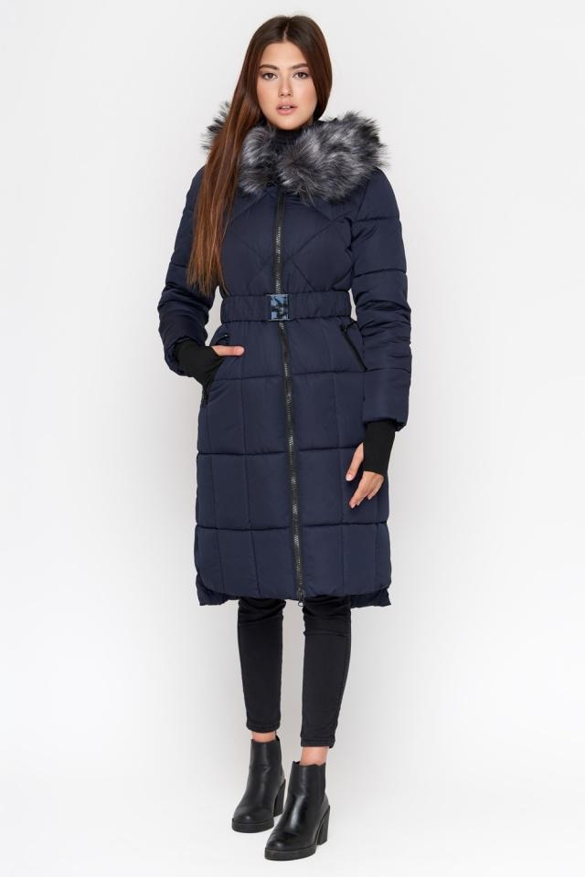 Зимняя куртка синяя женская с меховой опушкой модель 18013