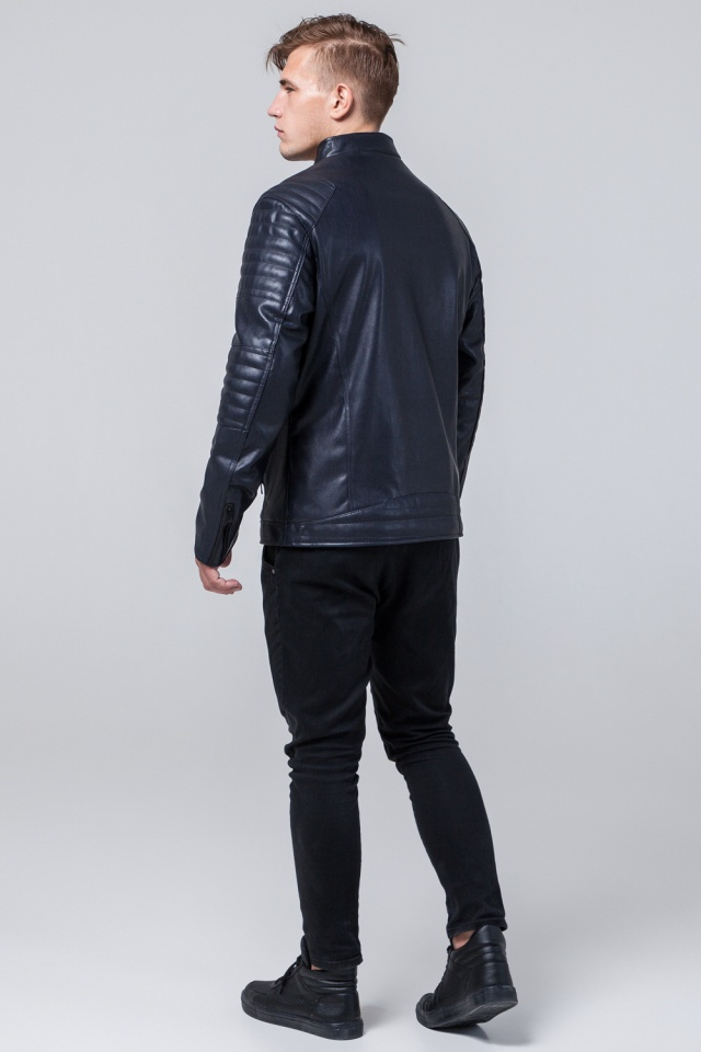 "Осенняя кожаная куртка тёмно-синяя модель 4327 Braggart ""Youth"" фото 5"