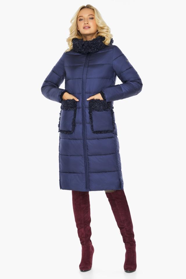 "Куртка женская на молнии зимняя цвет синий бархат модель 47575 Braggart ""Angel's Fluff"" фото 2"