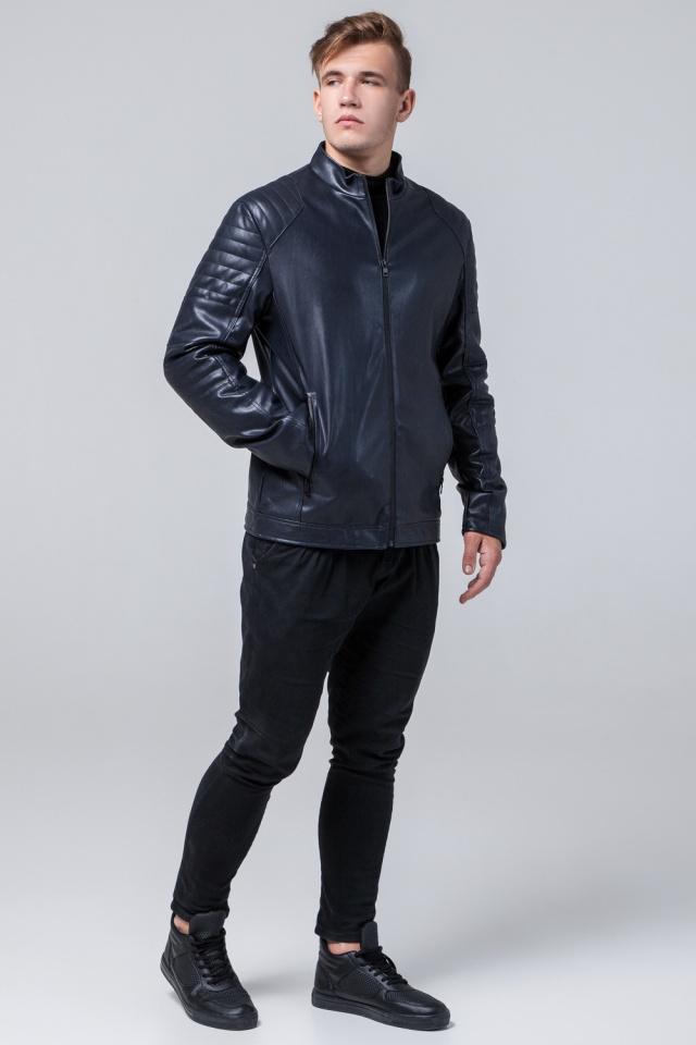 "Осенняя кожаная куртка тёмно-синяя модель 4327 Braggart ""Youth"" фото 2"