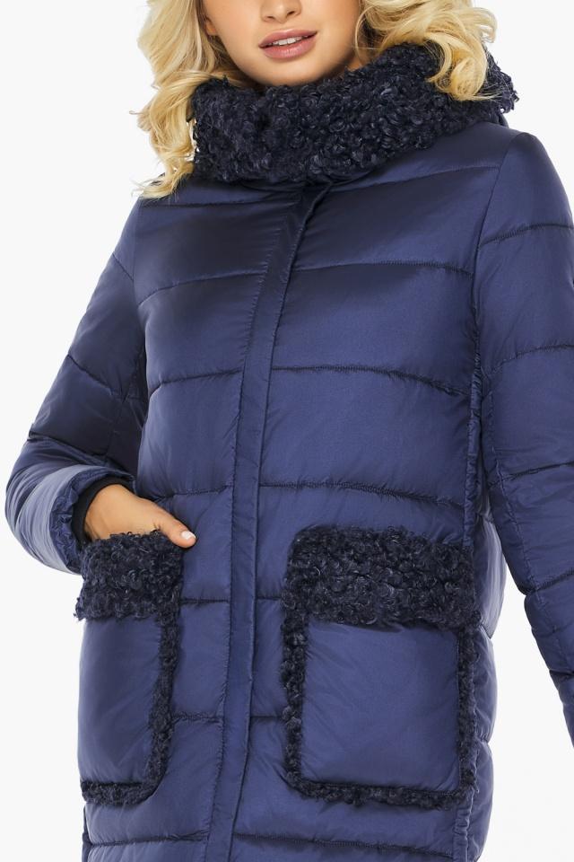 "Куртка женская на молнии зимняя цвет синий бархат модель 47575 Braggart ""Angel's Fluff"" фото 9"