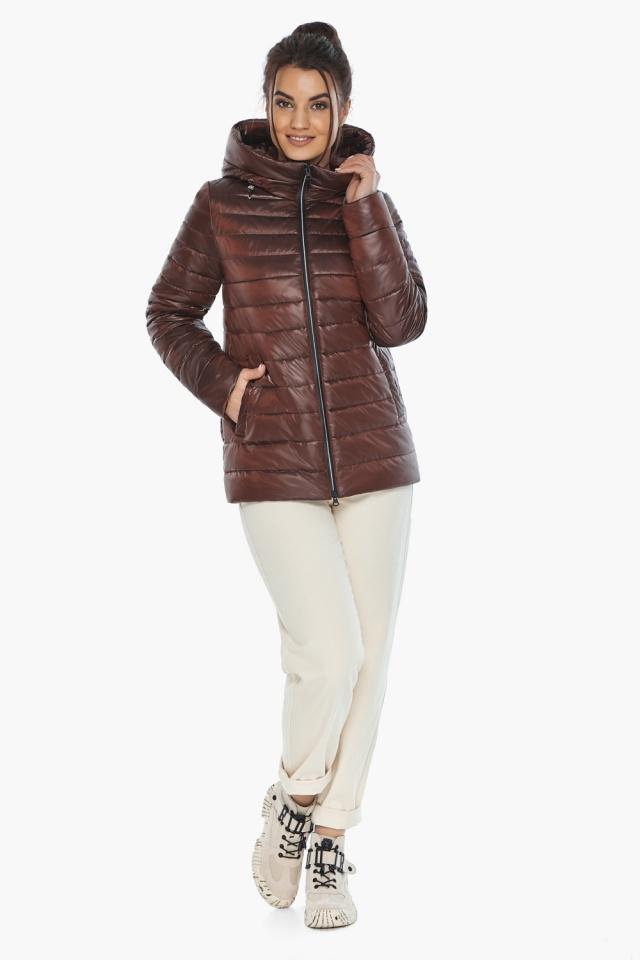 """Осенне-весенняя куртка женская оригинальная каштановая модель 68240 Braggart """"Angel's Fluff"""" фото 6"""