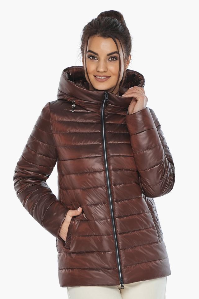 """Осенне-весенняя куртка женская стильная каштановая модель 68240 Braggart """"Angel's Fluff"""" фото 4"""