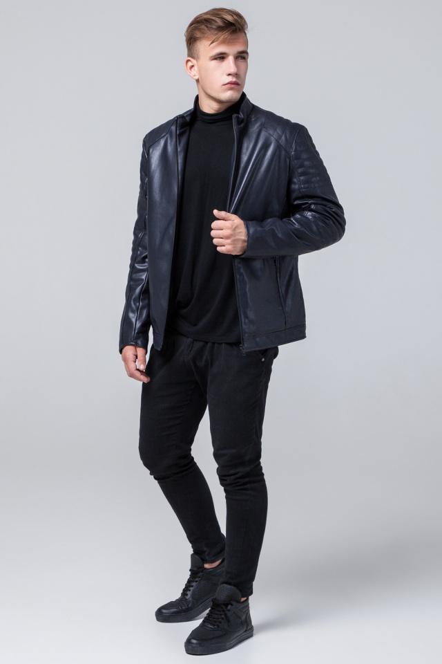 "Осенняя кожаная куртка тёмно-синяя модель 4327 Braggart ""Youth"" фото 3"