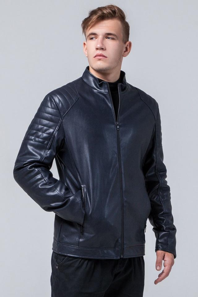 "Осенняя кожаная куртка тёмно-синяя модель 4327 Braggart ""Youth"" фото 4"