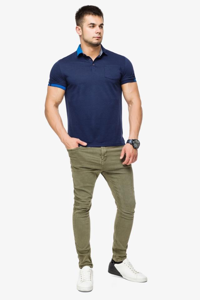 Брендовая футболка поло мужская цвет темно-синий-голубой модель 6073 Braggart фото 4