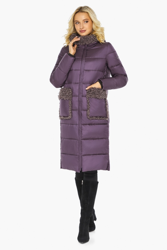 """Баклажановая куртка с карманами женская на зиму модель 47575 Braggart """"Angel's Fluff"""" фото 6"""