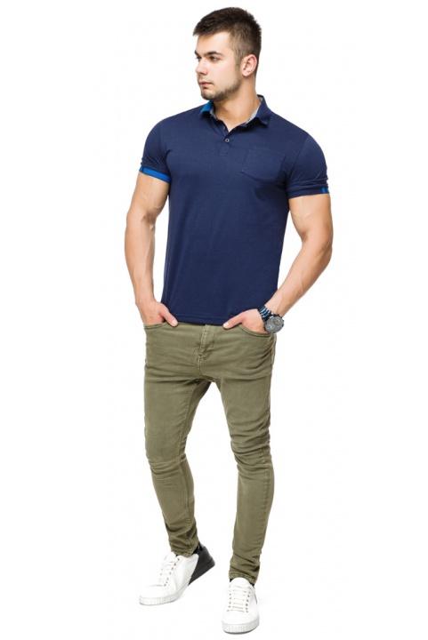 Брендова футболка поло чоловіча колір темно-синій-блакитний модель 6073 Braggart фото 1