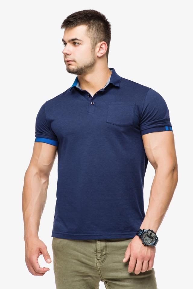 Брендовая футболка поло мужская цвет темно-синий-голубой модель 6073 Braggart фото 3
