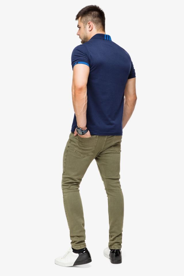 Брендовая футболка поло мужская цвет темно-синий-голубой модель 6073 Braggart фото 5
