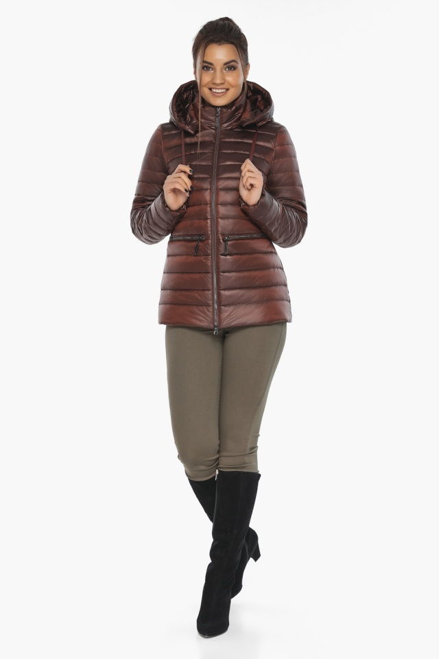 """Куртка комфортная каштановая женская модель 63045 Braggart """"Angel's Fluff"""" фото 4"""