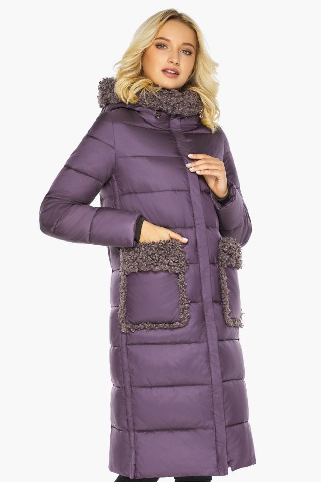 """Баклажановая куртка с карманами женская на зиму модель 47575 Braggart """"Angel's Fluff"""" фото 5"""