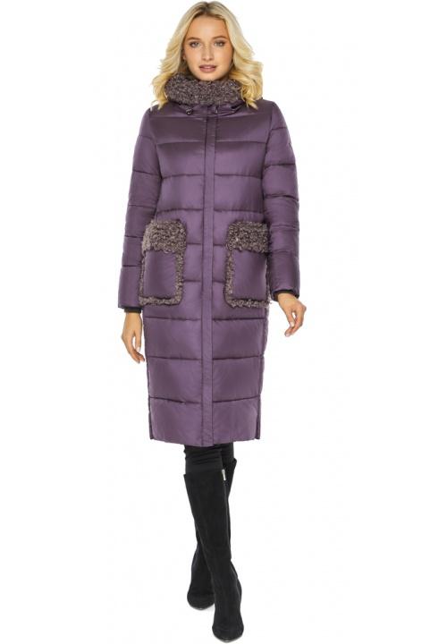 """Баклажановая куртка с карманами женская на зиму модель 47575 Braggart """"Angel's Fluff"""" фото 1"""