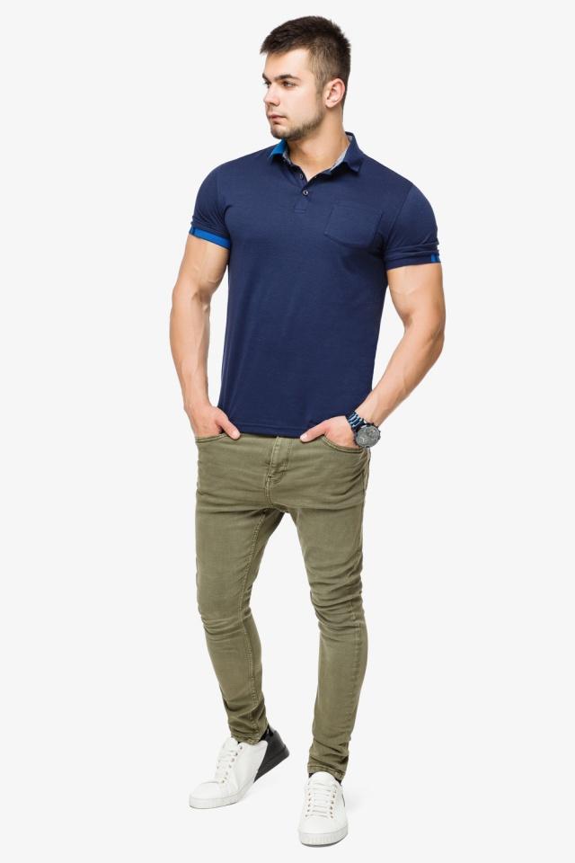 Брендовая футболка поло мужская цвет темно-синий-голубой модель 6073 Braggart фото 2