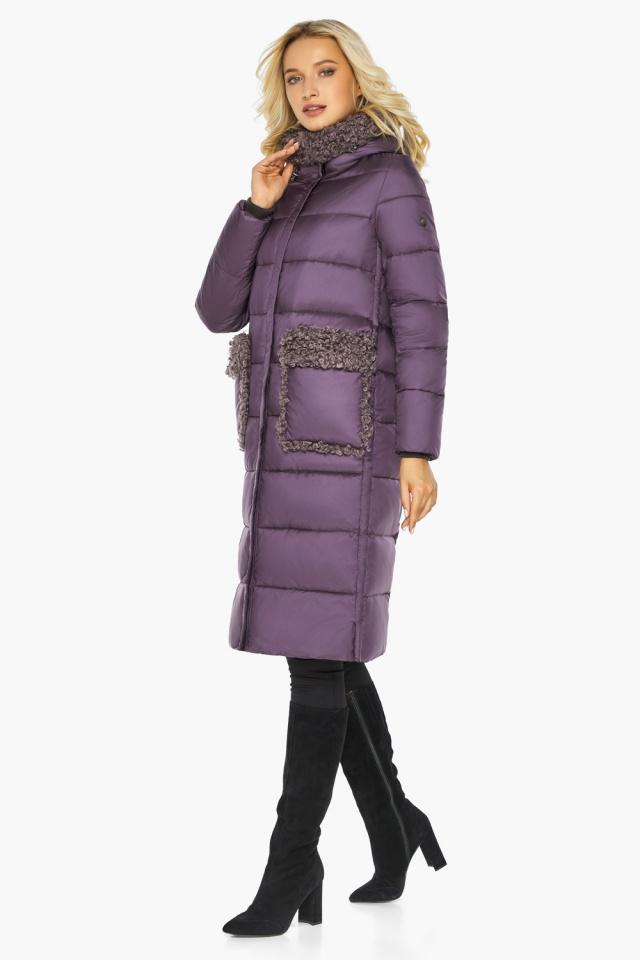 """Баклажановая куртка с карманами женская на зиму модель 47575 Braggart """"Angel's Fluff"""" фото 8"""