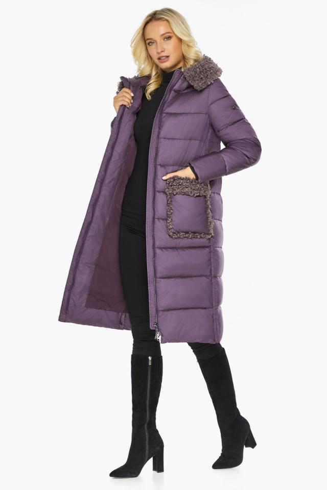 """Баклажановая куртка с карманами женская на зиму модель 47575 Braggart """"Angel's Fluff"""" фото 4"""