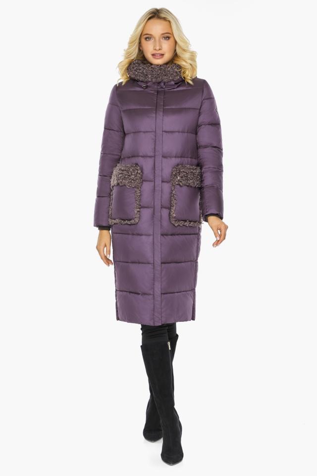 """Баклажановая куртка с карманами женская на зиму модель 47575 Braggart """"Angel's Fluff"""" фото 2"""