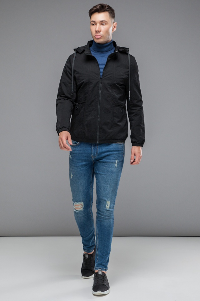 """Ветровка черная подростковая осенняя с карманами модель 38399 Braggart """"Youth"""" фото 4"""