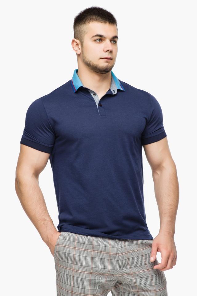 Легкая футболка поло мужская цвет темно-синий-голубой модель 6285 Braggart фото 3