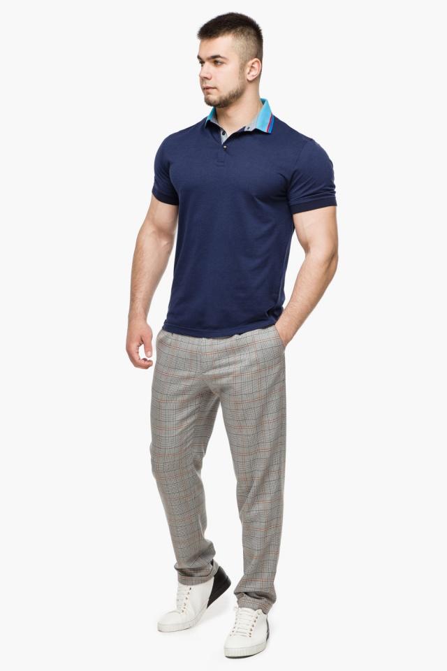 Легкая футболка поло мужская цвет темно-синий-голубой модель 6285 Braggart фото 4