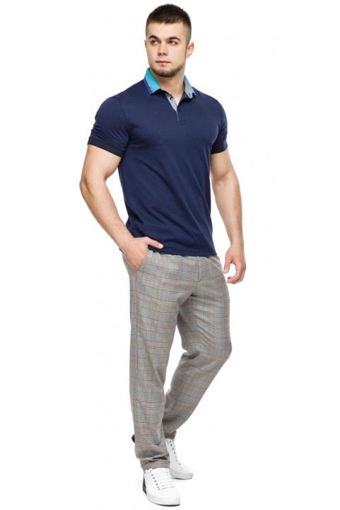 Легка футболка поло чоловіча колір темно-синій-блакитний модель 6285 Braggart фото 1