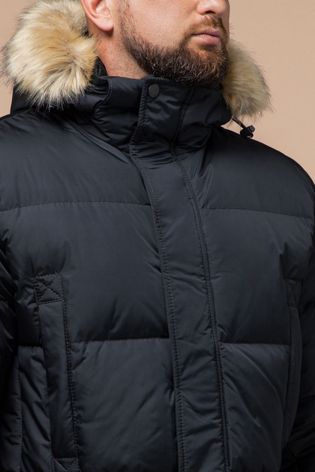 """Классическая мужская зимняя куртка большого размера графитовя модель 2084 Braggart """"Titans"""" фото 6"""