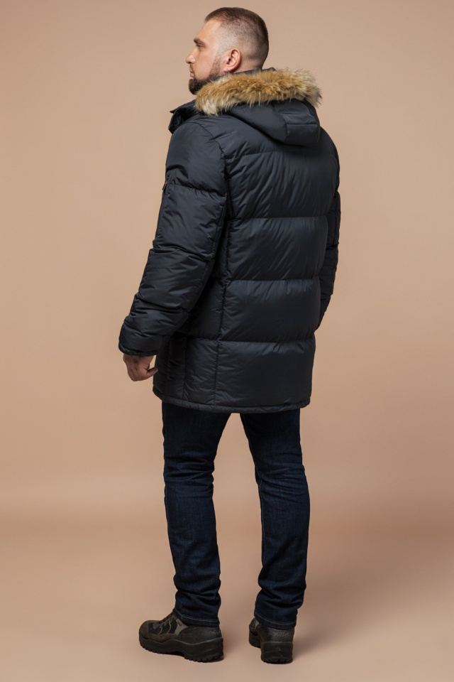 """Классическая мужская зимняя куртка большого размера графитовя модель 2084 Braggart """"Titans"""" фото 5"""