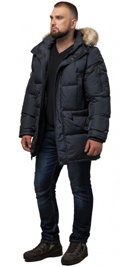"""Классическая мужская зимняя куртка большого размера графитовя модель 2084 Braggart """"Titans"""" фото 1"""