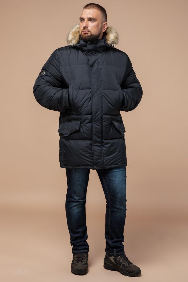 """Классическая мужская зимняя куртка большого размера графитовя модель 2084 Braggart """"Titans"""" фото 4"""