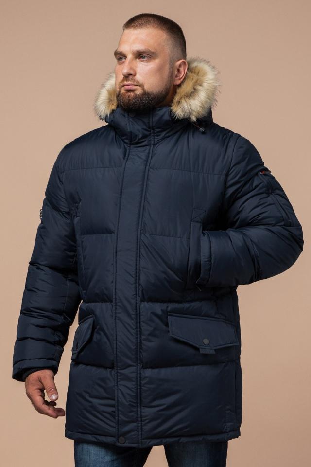 """Стильная курточка большого размера зимняя мужская тёмно-синяя модель 2084 Braggart """"Titans"""" фото 4"""