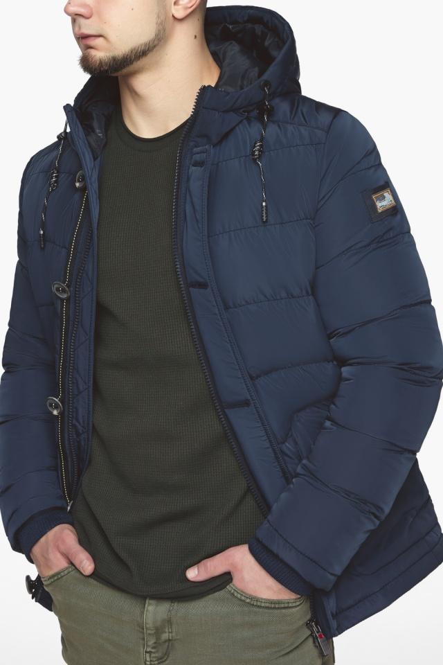 """Синяя зимняя куртка с ветрозащитной планкой мужская модель 44516 Braggart """"Dress Code"""" фото 9"""
