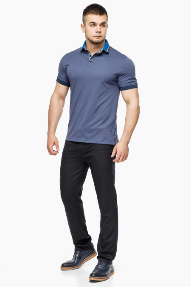 Трендовая футболка поло мужская цвет джинс модель 6285