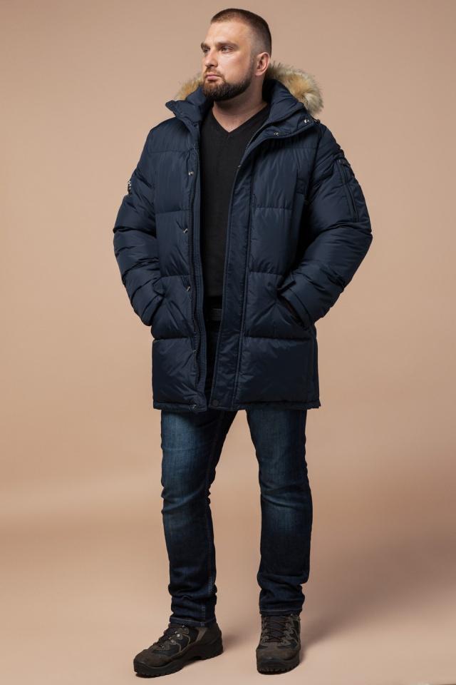 """Стильная курточка большого размера зимняя мужская тёмно-синяя модель 2084 Braggart """"Titans"""" фото 3"""