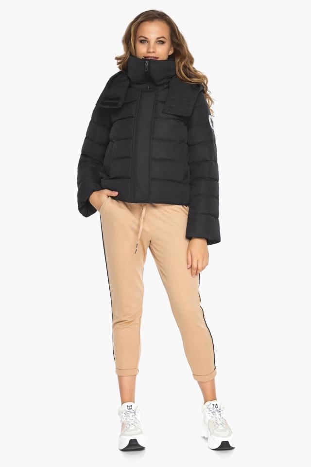 Куртка с капюшоном черная осенняя на девочку модель 21470 Youth фото 4