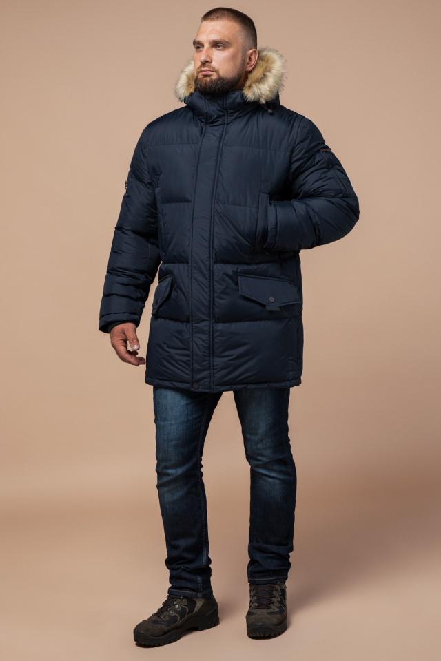 """Стильная курточка большого размера зимняя мужская тёмно-синяя модель 2084 Braggart """"Titans"""" фото 2"""