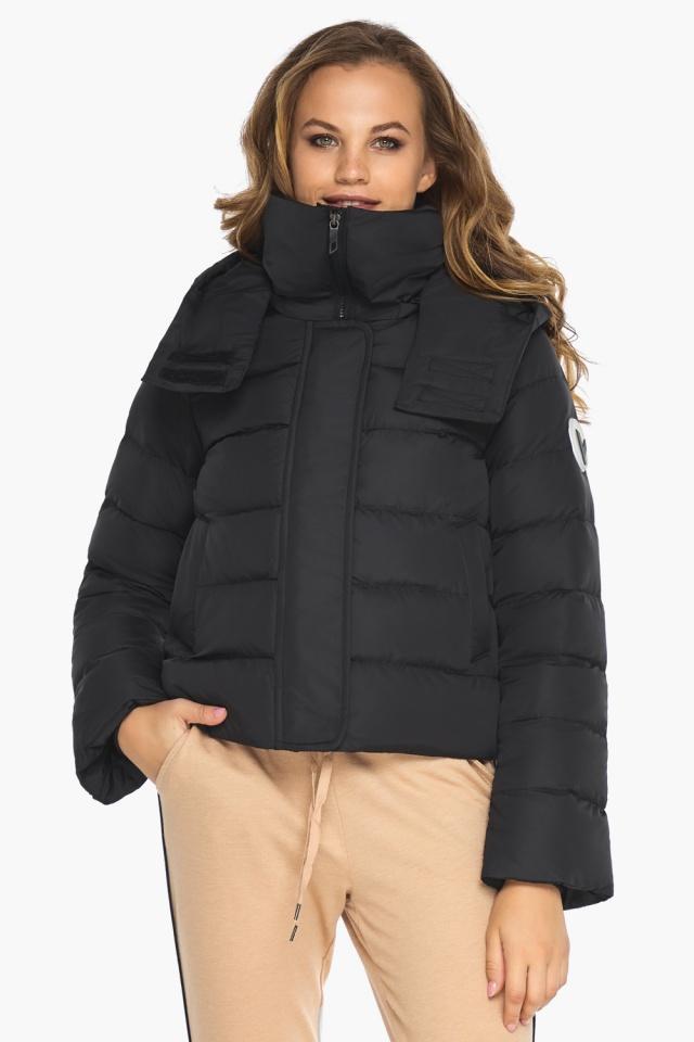 Куртка с капюшоном черная осенняя на девочку модель 21470 Youth фото 3