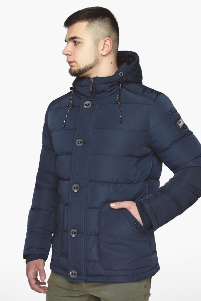 """Синяя зимняя куртка с ветрозащитной планкой мужская модель 44516 Braggart """"Dress Code"""" фото 4"""