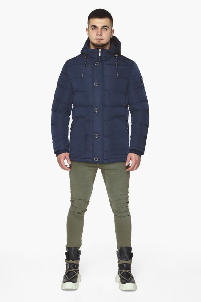 """Синяя зимняя куртка с ветрозащитной планкой мужская модель 44516 Braggart """"Dress Code"""" фото 2"""