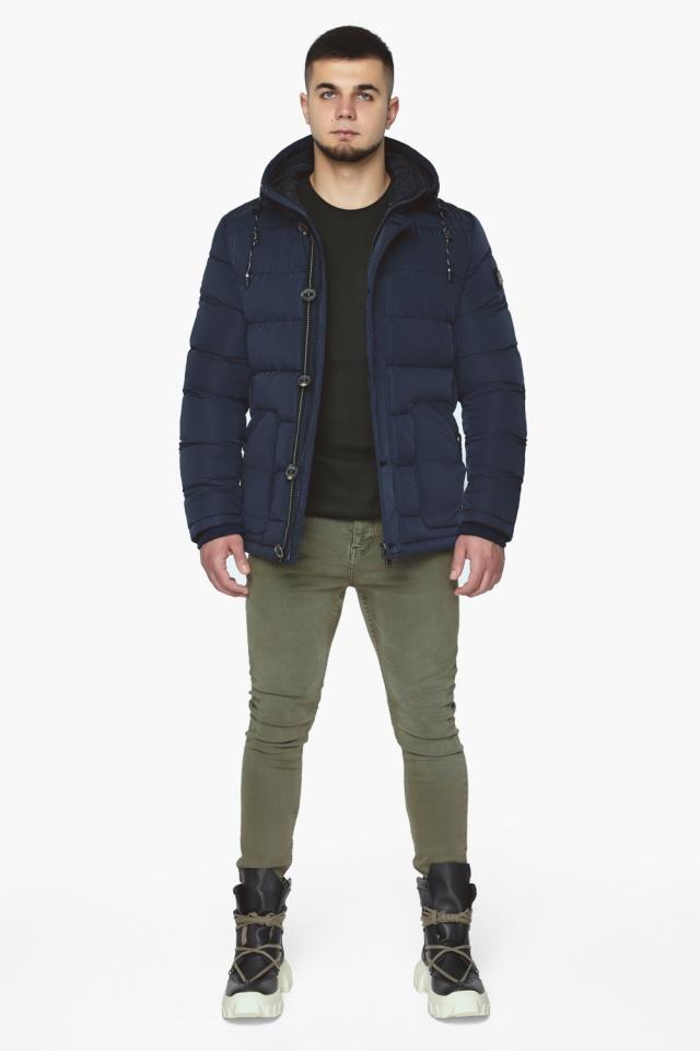 """Синяя зимняя куртка с ветрозащитной планкой мужская модель 44516 Braggart """"Dress Code"""" фото 3"""