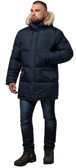 """Стильная курточка большого размера зимняя мужская тёмно-синяя модель 2084 Braggart """"Titans"""" фото 1"""