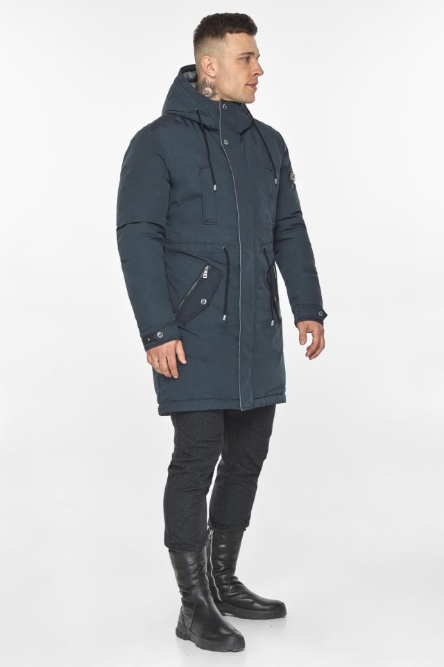 """Парка – воздуховик графитово-синий мужской удобный зимний модель 30882 Braggart """"Angel's Fluff Man"""" фото 7"""