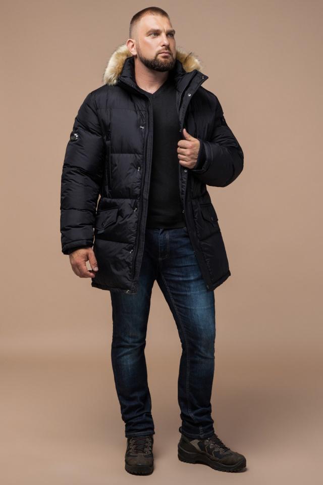 """Мужская зимняя практичная куртка большого размера чёрная модель 2084 Braggart """"Titans"""" фото 3"""