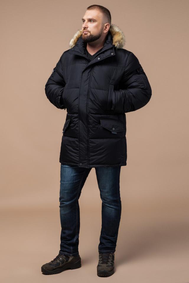 """Мужская зимняя практичная куртка большого размера чёрная модель 2084 Braggart """"Titans"""" фото 2"""
