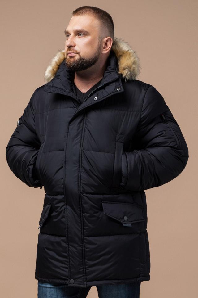 """Мужская зимняя практичная куртка большого размера чёрная модель 2084 Braggart """"Titans"""" фото 4"""