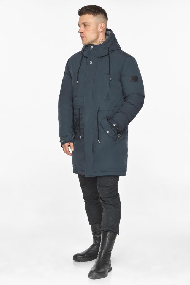 """Парка – воздуховик графитово-синий мужской удобный зимний модель 30882 Braggart """"Angel's Fluff Man"""" фото 4"""