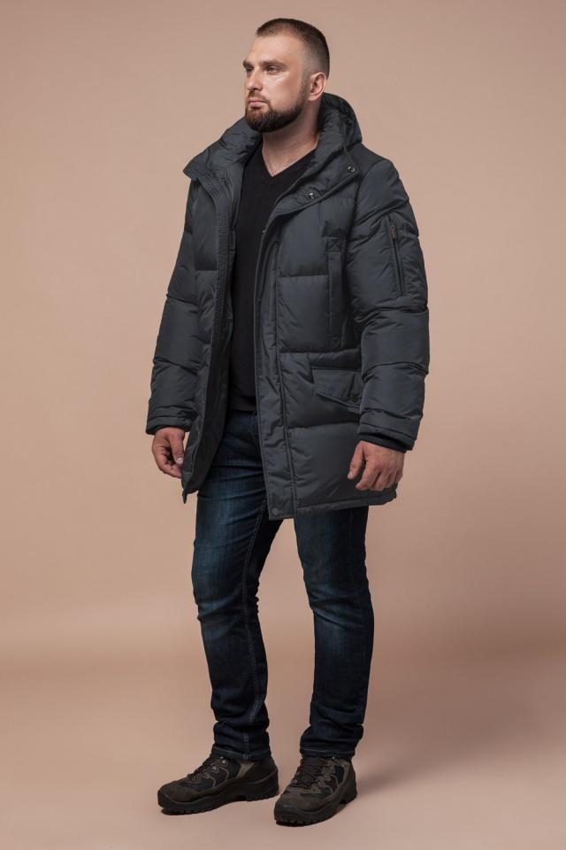 """Мужская графитовая зимняя куртка большого размера модель 3284 Braggart """"Titans"""" фото 3"""