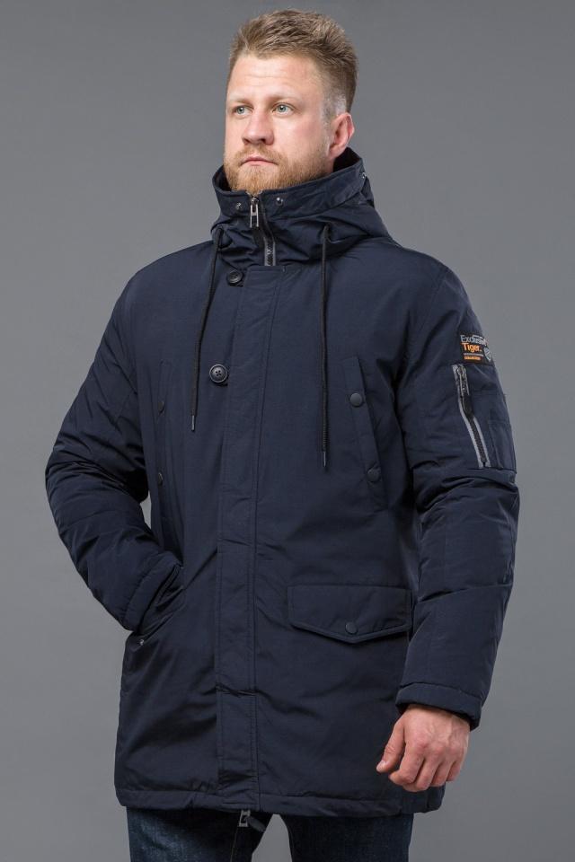 Парка мужская качественная темно-синего цвета зимняя модель 54120