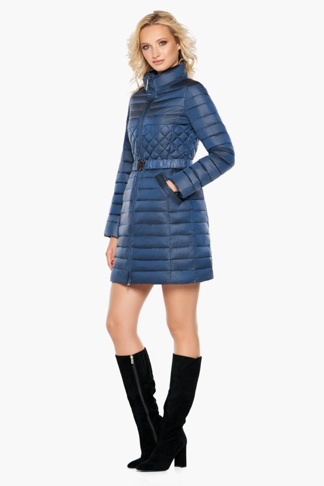 Женская комфортная куртка осенне-весенняя цвет темная лазурь модель 39002