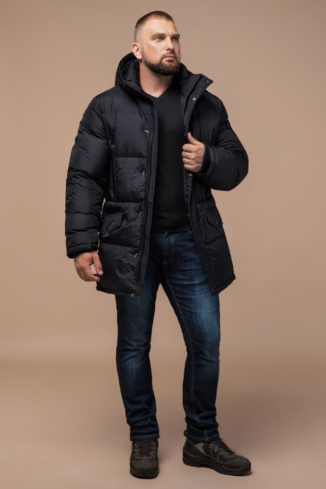 """Удобная мужская куртка большого размера зимняя чёрная модель 3284 Braggart """"Titans"""" фото 2"""
